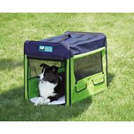 Guardian Gear Collapsible Dog Crate, Medium, Green/Blue