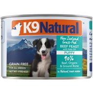 K9 Natural Grass-Fed Beef Feast with Hoki Oil Grain-Free Puppy Canned Dog Food, 6-oz, case of 24