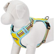 Blueberry Pet 3M Reflective Multi-Colored Stripe Dog Harness, Small/Medium, Yellow, Azure & Brown