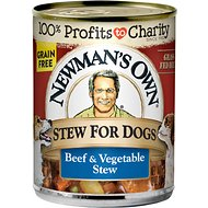Newman's Own Grain-Free Premium Beef & Vegetable Stew Canned Dog Food, 12-oz, case of 12