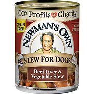 Newman's Own Organics Grain-Free Premium Beef Liver & Vegetable Stew Canned Dog Food, 12-oz, case of 12