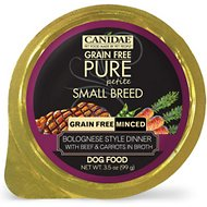 CANIDAE Grain-Free PURE Petite Bolognese Style Dinner with Beef & Carrots in Broth Small Breed Dog Food Trays, 3.5-oz, case of 12