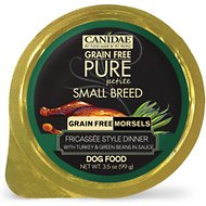 CANIDAE Grain-Free PURE Petite Fricassee Style Dinner with Turkey & Green Beans in Sauce Small Breed Dog Food Trays, 3.5-oz, case of 12