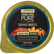 CANIDAE Grain-Free PURE Petite Pottage Style Dinner with Duck & Pumpkin in Broth Small Breed Dog Food Trays, 3.3-oz, case of 12