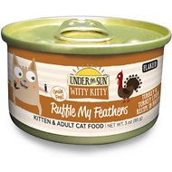 Under the Sun Witty Kitty Grain-Free Ruffle My Feathers Turkey & Turkey Liver Recipe Canned Cat Food, 3-oz, case of 24