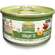 Under the Sun Witty Kitty Grain-Free Wingin' It Chicken & Turkey Recipe Canned Cat Food, 3-oz, case of 24