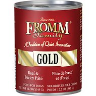 Fromm Gold Beef & Barley Pate Grain-Free Canned Dog Food, 12-oz, case of 12