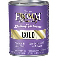 Fromm Gold Venison & Beef Pate Grain-Free Canned Dog Food, 12-oz, case of 12