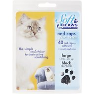 Soft Claws Nail Caps for Cats, 40 Count, Large, Black