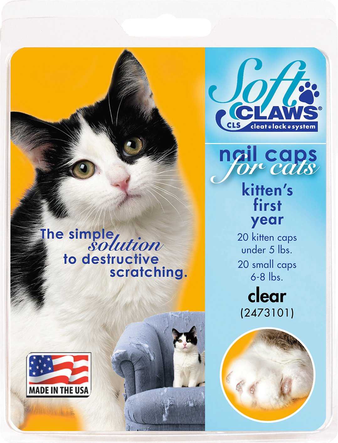 Soft Claws Nail Caps for Kittens, 40 Count, Kitten, Clear - Chewy.com