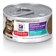 Hill's Science Diet Adult Sensitive Stomach & Skin Tuna & Vegetable Entrée Canned Cat Food, 2.9-oz, case of 24