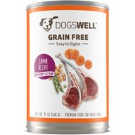 Dogswell Savory Stew Lamb Recipe Grain-Free Canned Dog Food, 13-oz, case of 12