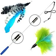 Pet Fit For Life 2 Feather Retractable Wand Cat Toy, Blue & Green