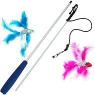 Pet Fit For Life 2 Fish Feather Wand Cat Toy