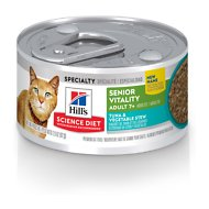 Hill's Science Diet Adult 7+ Youthful Vitality Tuna & Vegetables Stew Canned Cat Food, 2.9-oz, case of 24