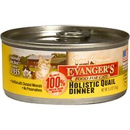 Evanger's Super Premium Quail Dinner Grain-Free Canned Cat Food, 5.5-oz, case of 24