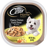 Cesar Home Delights Cheesy Chicken Pasta Dinner Dog Food Trays, 3.5-oz, case of 24