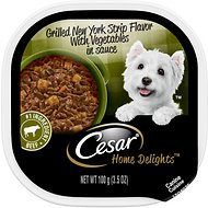 Cesar Home Delights New York Strip Steak Flavor with Potatoes & Summer Vegetables Dog Food Trays, 3.5-oz, case of 24