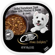 Cesar Home Delights Grilled Porterhouse Steak Flavor with Potatoes, Bacon & Cheese Dog Food Trays, 3.5-oz, case of 24