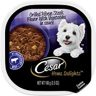 Cesar Home Delights Grilled Ribeye Steak Flavor with Potatoes & Vegetables Dog Food Trays, 3.5-oz, case of 24