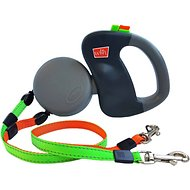 Wigzi Dual Doggie Retractable Leash, Green/Orange