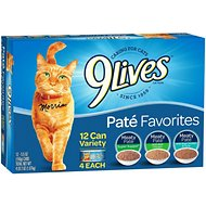 9 Lives Pate Favorites Variety Pack Canned Cat Food, 5.5-oz, case of 12