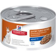 Hill's Science Diet Adult 7+ Savory Turkey Entree Canned Cat Food, 2.9-oz, case of 24
