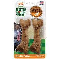 Nylabone Healthy Edibles Wild Turkey Dog Bone Treat, Wolf, 2 count