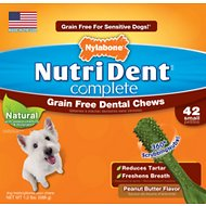 Nylabone Nutri Dent Complete Grain-Free Peanut Butter Flavor Dental Dog Chews - Small, 42 count