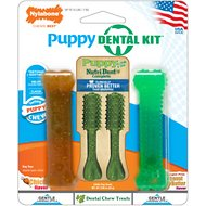 Nylabone Petite Puppy Chicken & Peanut Butter Flavored Dental Kit, 4 count