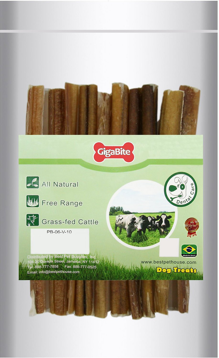 best pet supplies gigabite odor free 6 bully sticks dog treats 10 count. Black Bedroom Furniture Sets. Home Design Ideas