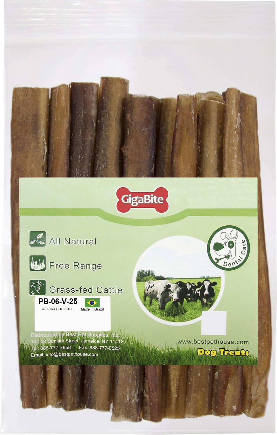 best pet supplies gigabite odor free 6 bully sticks dog treats 25 count. Black Bedroom Furniture Sets. Home Design Ideas