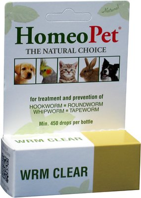 5. HomeoPet WRM Clear Dog, Cat, Bird & Small Animal Supplement