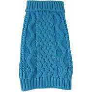 Pet Life Swivel-Swirl Heavy Cable Knitted Dog Sweater, Small, Light Blue