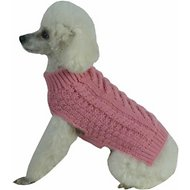 Pet Life Swivel-Swirl Heavy Cable Knitted Dog Sweater, Small, Pink