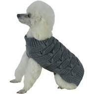 Pet Life Butterfly Stitched Heavy Cable Knitted Turtle Neck Dog Sweater, Medium, Dark Grey