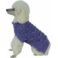 Pet Life Butterfly Stitched Heavy Cable Knitted Turtle Neck Dog Sweater, Large, Lavender Purple
