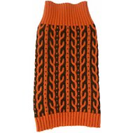 Pet Life Harmonious Heavy Cable Knitted Dog Sweater, Orange and Brown, Small