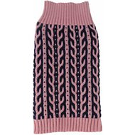 Pet Life Harmonious Heavy Cable Knitted Dog Sweater, Small, Pink and Navy Blue