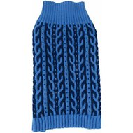 Pet Life Harmonious Heavy Cable Knitted Dog Sweater, Aqua Blue and Dark Blue, Medium