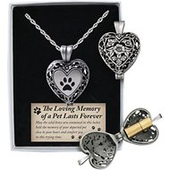 Cathedral Art Paw Print Memorial Ashes Locket Necklace, Pewter
