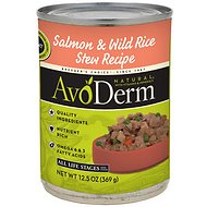 AvoDerm Natural Salmon & Wild Rice Stew Recipe Canned Dog Food, 12.5-oz, case of 12