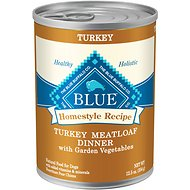 Blue Buffalo Homestyle Recipe Turkey Meatloaf Dinner with Garden Vegetables Canned Dog Food, 12.5-oz, case of 12