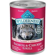 Blue Buffalo Wilderness Salmon & Chicken Grill Grain-Free Canned Dog Food, 12.5-oz, case of 12