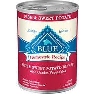 Blue Buffalo Homestyle Recipe Fish & Sweet Potato Dinner with Garden Vegetables Canned Dog Food, 12.5-oz, case of 12