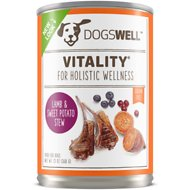 Dogswell Vitality Lamb & Sweet Potato Stew Recipe Grain-Free Canned Dog Food, 13-oz, case of 12