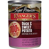 Evanger's Super Premium Duck & Sweet Potato Dinner Canned Dog Food, 12.8-oz, case of 12