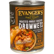 Evanger's Grain-Free Hand Packed Roasted Whole Chicken Drummets Dinner Canned Dog Food, 12-oz, case of 12