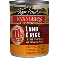 Evanger's Super Premium Lamb & Rice Dinner Canned Dog Food, 12.8-oz, case of 12