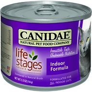 CANIDAE Life Stages Indoor Formula Canned Cat Food, 5.5-oz, case of 12